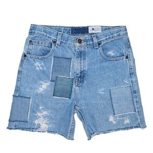 Reworked Long Denim Patchwork Distressed Shorts